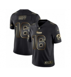 Men Los Angeles Rams #16 Jared Goff Black Golden Edition 2019 Vapor Untouchable Limited Jersey