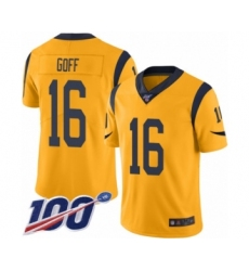 Men's Los Angeles Rams #16 Jared Goff Limited Gold Rush Vapor Untouchable 100th Season Football Jersey
