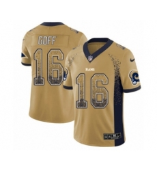 Men's Nike Los Angeles Rams #16 Jared Goff Limited Gold Rush Drift Fashion NFL Jersey