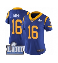 Women's Nike Los Angeles Rams #16 Jared Goff Royal Blue Alternate Vapor Untouchable Limited Player Super Bowl LIII Bound NFL Jersey