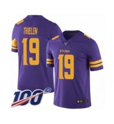 Men's Minnesota Vikings #19 Adam Thielen Limited Purple Rush Vapor Untouchable 100th Season Football Jersey