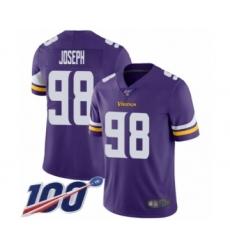 Men's Minnesota Vikings #98 Linval Joseph Purple Team Color Vapor Untouchable Limited Player 100th Season Football Jersey