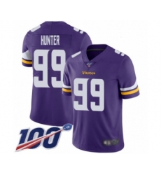 Men's Minnesota Vikings #99 Danielle Hunter Purple Team Color Vapor Untouchable Limited Player 100th Season Football Jersey