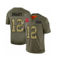 Men's New England Patriots #12 Tom Brady 2019 Olive Camo Salute to Service Limited Jersey
