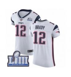 Men's Nike New England Patriots #12 Tom Brady White Vapor Untouchable Elite Player Super Bowl LIII Bound NFL Jersey