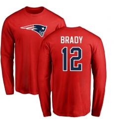 NFL Nike New England Patriots #12 Tom Brady Red Name & Number Logo Long Sleeve T-Shirt