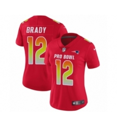 Women's Nike New England Patriots #12 Tom Brady Limited Red AFC 2019 Pro Bowl NFL Jersey