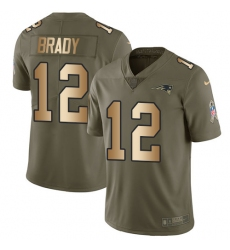 Youth Nike New England Patriots #12 Tom Brady Limited Olive/Gold 2017 Salute to Service NFL Jersey