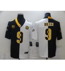 Men's New Orleans Saints #9 Drew Brees Black White C Limited Split Fashion Football Jersey