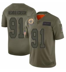 Men's New Orleans Saints #91 Trey Hendrickson Limited Camo 2019 Salute to Service Football Jersey