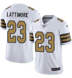 Men's Nike New Orleans Saints #23 Marshon Lattimore Limited White Rush Vapor Untouchable NFL Jersey