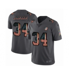 Men's Oakland Raiders #34 Bo Jackson Limited Black USA Flag 2019 Salute To Service Football Jersey