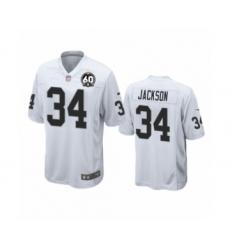 Youth Oakland Raiders #34 Bo Jackson Game 60th Anniversary White Football Jersey