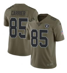 Men's Nike Oakland Raiders #85 Derek Carrier Limited Olive 2017 Salute to Service NFL Jersey