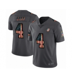 Men's Oakland Raiders #4 Derek Carr Limited Black USA Flag 2019 Salute To Service Football Jersey