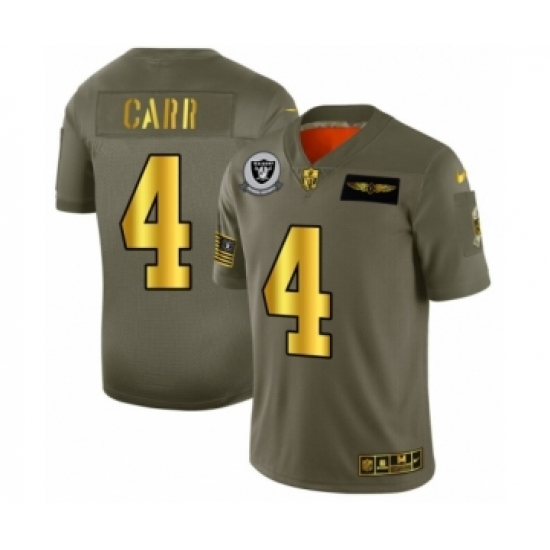 Men's Oakland Raiders #4 Derek Carr Limited Olive Gold 2019 Salute to Service Football Jersey