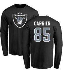 NFL Nike Oakland Raiders #85 Derek Carrier Black Name & Number Logo Long Sleeve T-Shirt