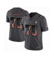 Men's Oakland Raiders #75 Howie Long Limited Black USA Flag 2019 Salute To Service Football Jersey