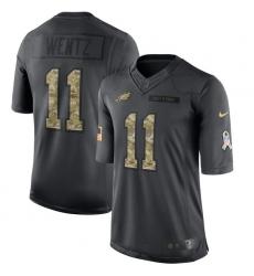Men's Nike Philadelphia Eagles #11 Carson Wentz Limited Black 2016 Salute to Service NFL Jersey