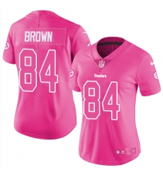 Women's Nike Pittsburgh Steelers #84 Antonio Brown Limited Pink Rush Fashion NFL Jersey