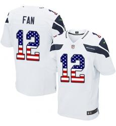 Men's Nike Seattle Seahawks 12th Fan Elite White Road USA Flag Fashion NFL Jersey