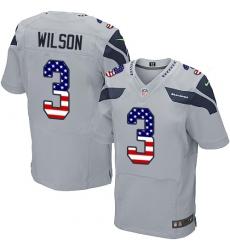 Men's Nike Seattle Seahawks #3 Russell Wilson Elite Grey Alternate USA Flag Fashion NFL Jersey