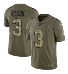 Men's Nike Seattle Seahawks #3 Russell Wilson Limited Olive/Camo 2017 Salute to Service NFL Jersey