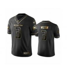 Men's Seattle Seahawks #3 Russell Wilson Limited Black Golden Edition Football Jersey