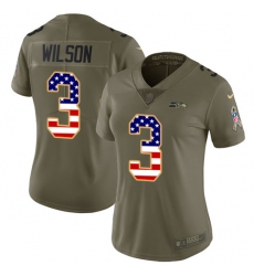 Women's Nike Seattle Seahawks #3 Russell Wilson Limited Olive/USA Flag 2017 Salute to Service NFL Jersey