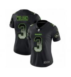 Women's Seattle Seahawks #3 Russell Wilson Limited Black Smoke Fashion Football Jersey