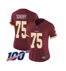 Women's Washington Redskins #75 Brandon Scherff Burgundy Red Team Color Vapor Untouchable Limited Player 100th Season Football Jersey
