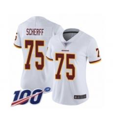 Women's Washington Redskins #75 Brandon Scherff White Vapor Untouchable Limited Player 100th Season Football Jersey