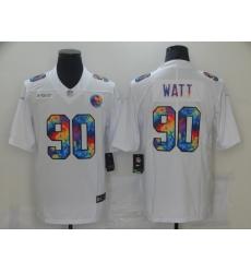 Men's Pittsburgh Steelers #90 T. J. Watt White Rainbow Version Nike Limited Jersey