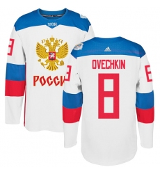 Men's Adidas Team Russia #8 Alexander Ovechkin Authentic White Home 2016 World Cup of Hockey Jersey