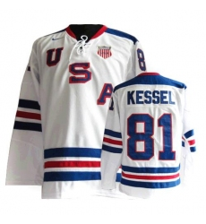 Men's Nike Team USA #81 Phil Kessel Authentic White 1960 Throwback Olympic Hockey Jersey