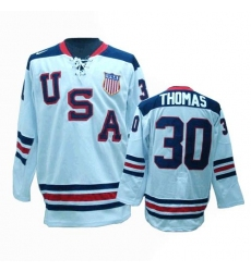 Men's Nike Team USA #30 Tim Thomas Premier White 1960 Throwback Olympic Hockey Jersey