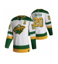 Men's Minnesota Wild #20 Ryan Suter White 2020-21 Reverse Retro Alternate Hockey Jersey