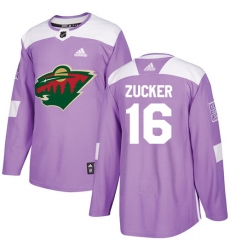 Men's Adidas Minnesota Wild #16 Jason Zucker Authentic Purple Fights Cancer Practice NHL Jersey