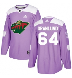 Youth Adidas Minnesota Wild #64 Mikael Granlund Authentic Purple Fights Cancer Practice NHL Jersey