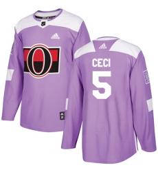 Youth Adidas Ottawa Senators #5 Cody Ceci Authentic Purple Fights Cancer Practice NHL Jersey