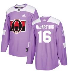 Youth Adidas Ottawa Senators #16 Clarke MacArthur Authentic Purple Fights Cancer Practice NHL Jersey