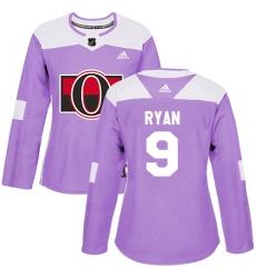 Women's Adidas Ottawa Senators #9 Bobby Ryan Authentic Purple Fights Cancer Practice NHL Jersey