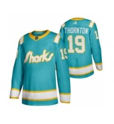 Men's San Jose Sharks #19 Joe Thornton 2020 Throwback Authentic Player Hockey Jersey