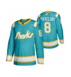 Men's San Jose Sharks #8 Joe Pavelski 2020 Throwback Authentic Player Hockey Jersey