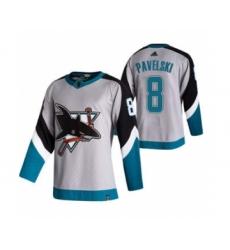 Men's San Jose Sharks #8 Joe Pavelski Grey 2020-21 Reverse Retro Alternate Hockey Jersey