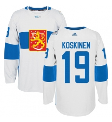 Men's Adidas Team Finland #19 Mikko Koskinen Premier White Home 2016 World Cup of Hockey Jersey