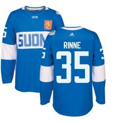Men's Adidas Team Finland #35 Pekka Rinne Authentic Blue Away 2016 World Cup of Hockey Jersey