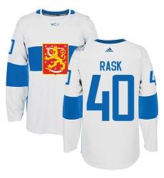 Men's Adidas Team Finland #40 Tuukka Rask Authentic White Home 2016 World Cup of Hockey Jersey