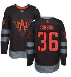 Men's Adidas Team North America #36 John Gibson Premier Black Away 2016 World Cup of Hockey Jersey