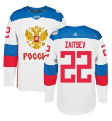 Men's Adidas Team Russia #22 Nikita Zaitsev Authentic White Home 2016 World Cup of Hockey Jersey